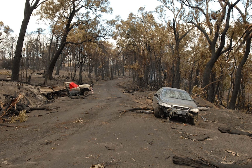 The aftermath of the fatal 2009 Churchill bushfire