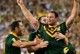 Boyd Cordner celebrates his World Cup final try