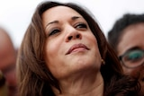 Kamala Harris is pictured close up with her head taking up the full frame of the shot.