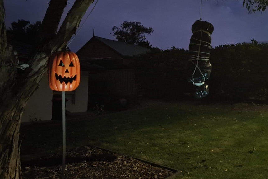 A body bag hanging from a tree with an orange pumpkin decoration at night
