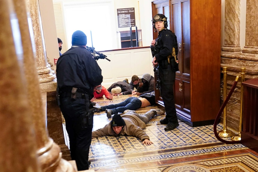 US Capitol Police hold protesters at gun-point as they lay on the floor with arms spread out.