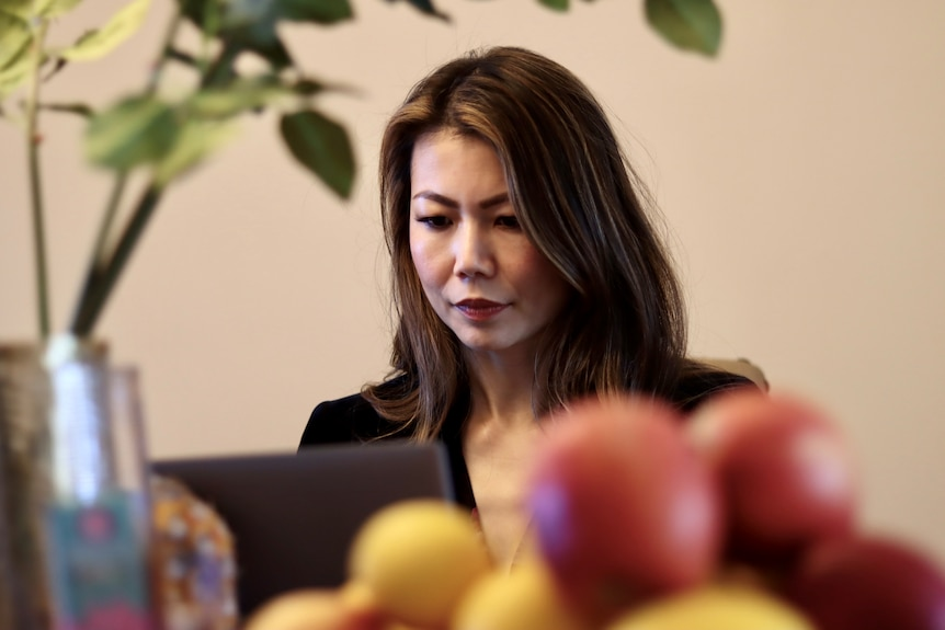 AN asian looking woman sits at her laptop