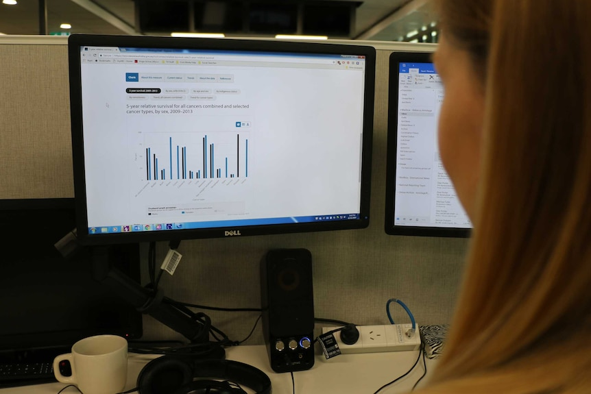 A woman looks at the new National Cancer Control Indicators website