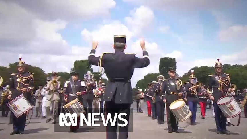 A military band played a medley of French group Daft Punk's songs as part of the celebrations.