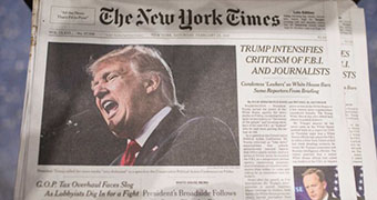 The front page of the NYT the day after some media outlets were barred from a White House briefing.