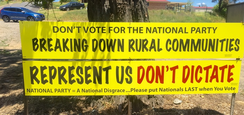 Poster protesting against NSW government policies ahead of Orange by-election