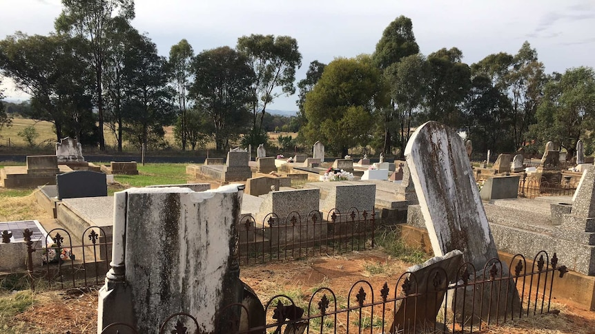 Damaged headstones at Molong cemetery