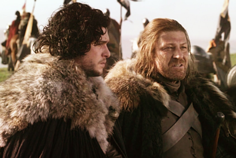 Jon Snow and Ned Stark standing beside each other in HBO TV series Game of Thrones.
