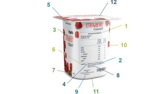 A strawberry yoghurt pot with the nutritional label showing.