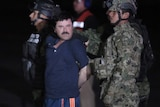 """Drug kingpin Joaquin """"El Chapo"""" Guzman is escorted by marines to a helicopter at Mexico City's airport"""
