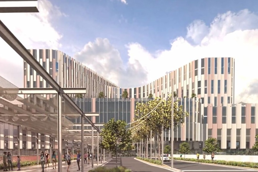 A computer model image of the new Women's and Children's Hospital.