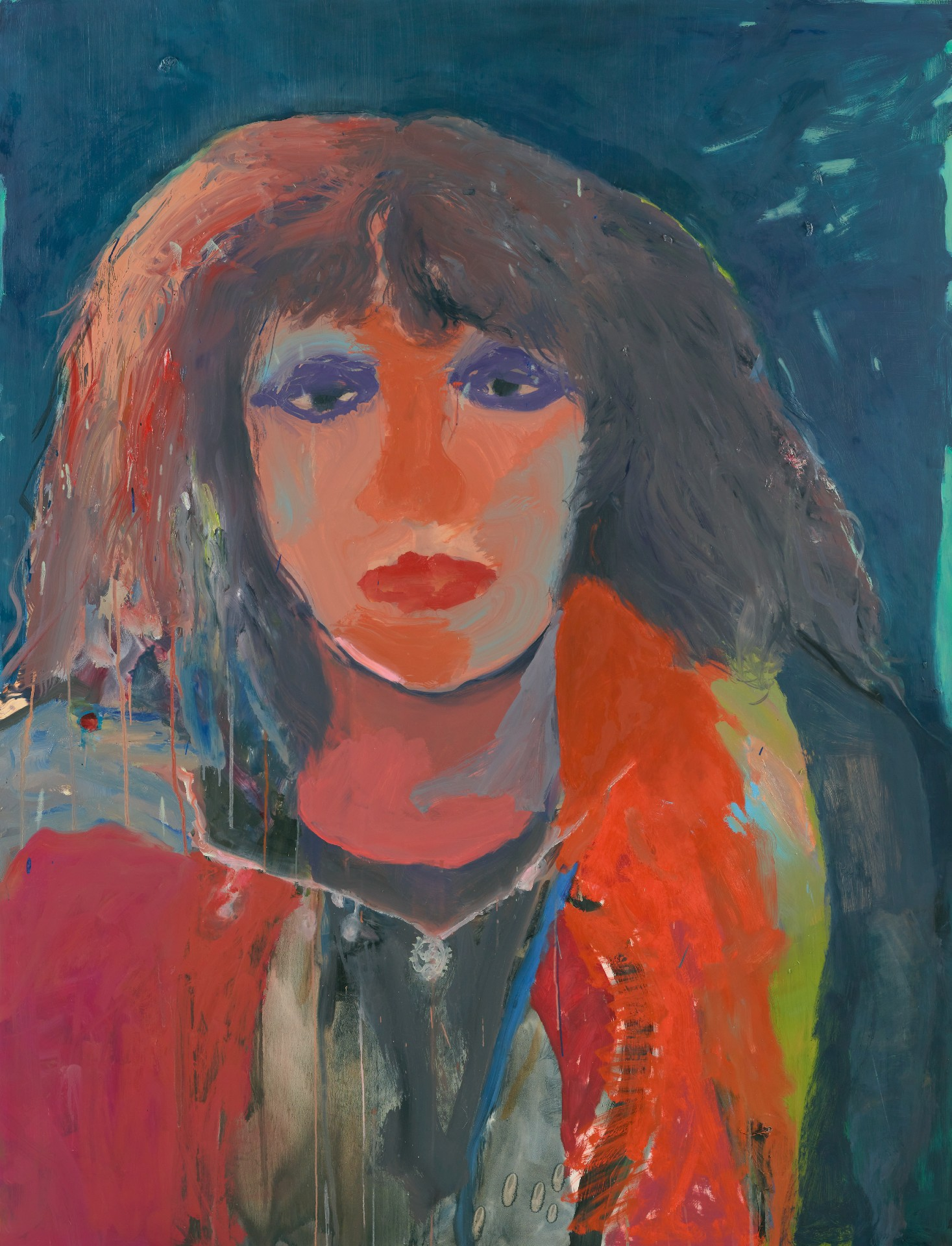 A colourful and abstract painting of Professor Chandini Raina Macintrye, her eyes framed with purple