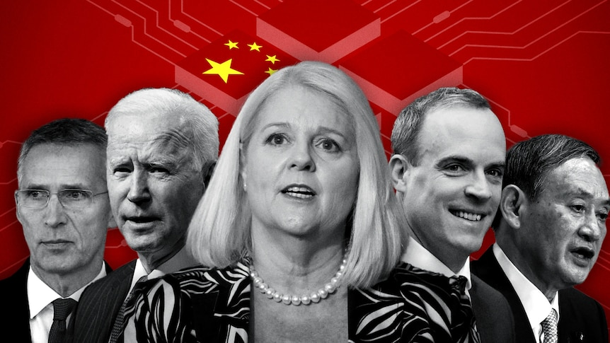 A graphic of different world leaders overlaid on a computer motherboard edited to resemble the Chinese flag.