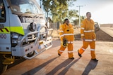 Volunteer firefighters Wade Bloffwitch and Stacey Petterson in Wiluna, WA.