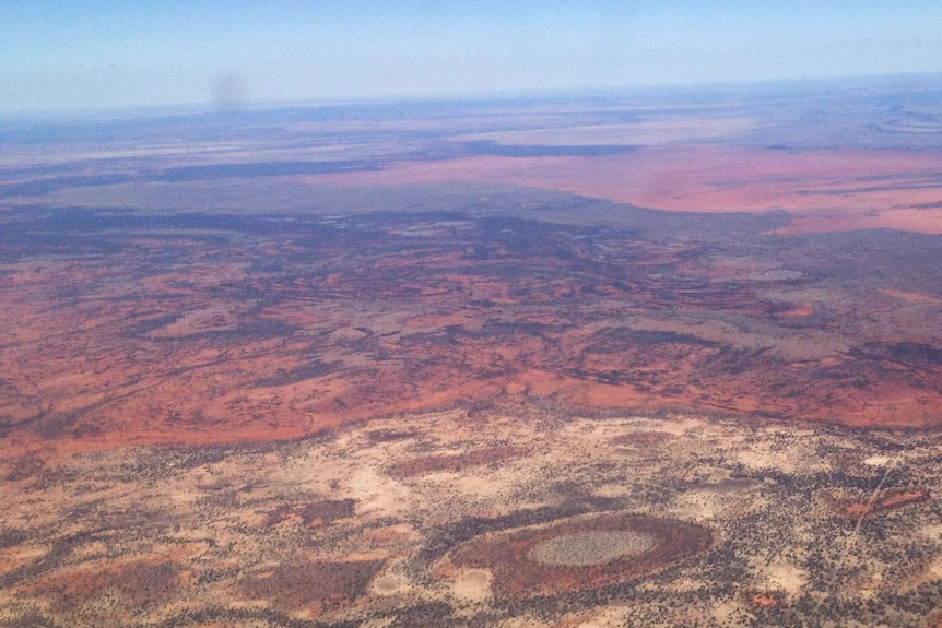 Flying over the Diamantina Shire in drought-stricken western Queensland.