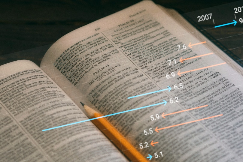 An open bible with a pencil and a chart overlay