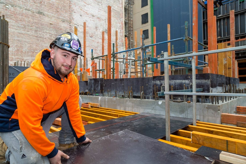 Construction worker Luca Vechio on a site in Melbourne.