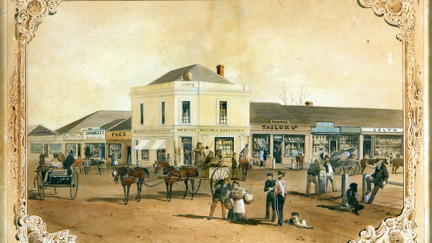 A detailed colonial painting of buildings, horses and people on the intersection of two dirt roads