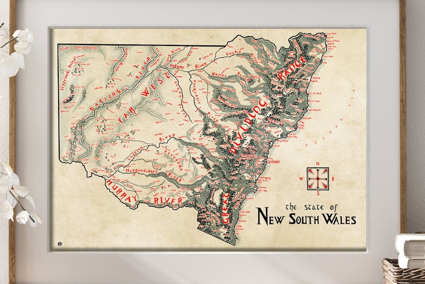 A hand-drawn map of NSW.
