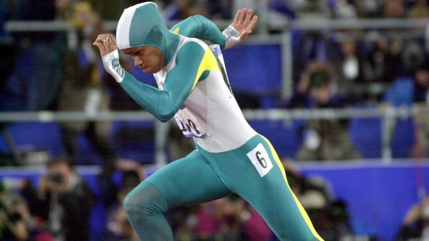 Cathy Freeman in the 2000 Sydney Olympics 400m final.