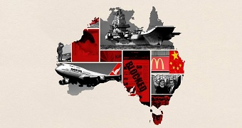 Map of Australia, overlayed with images showcasing the key events in the China-Australia relationship in 2018