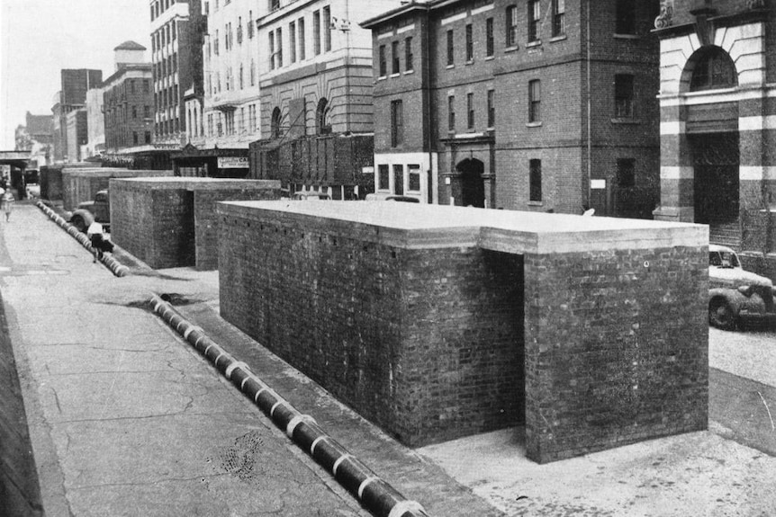 The brick bomb shelters built on one side of Elizabeth Street in 1942.