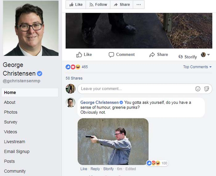 Facebook post of MP George Christensen aiming a gun and taunting 'greenie punks' posted on February 17, 2018