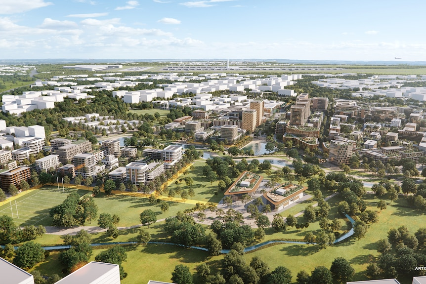 artist impressions of an aerial view showing a city