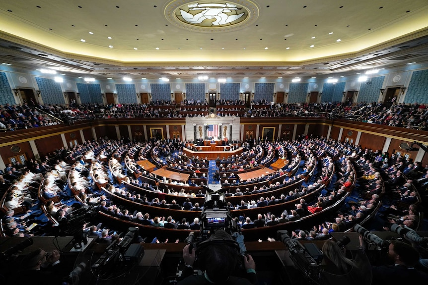 US President Donald Trump delivers the State of the Union address to a joint session of the US Congress