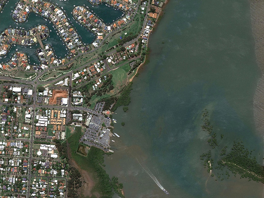 A Google Earth image of Toondah Harbour.