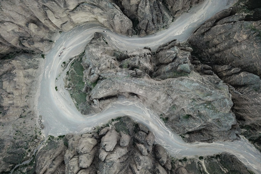 Aerial photo shows the scenery of Yellow River Stone Forest Scenic Spot at Jingtai County in Baiyin City, China