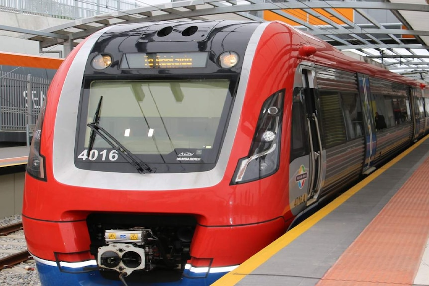Close up of the front of an Adelaide train at the platform