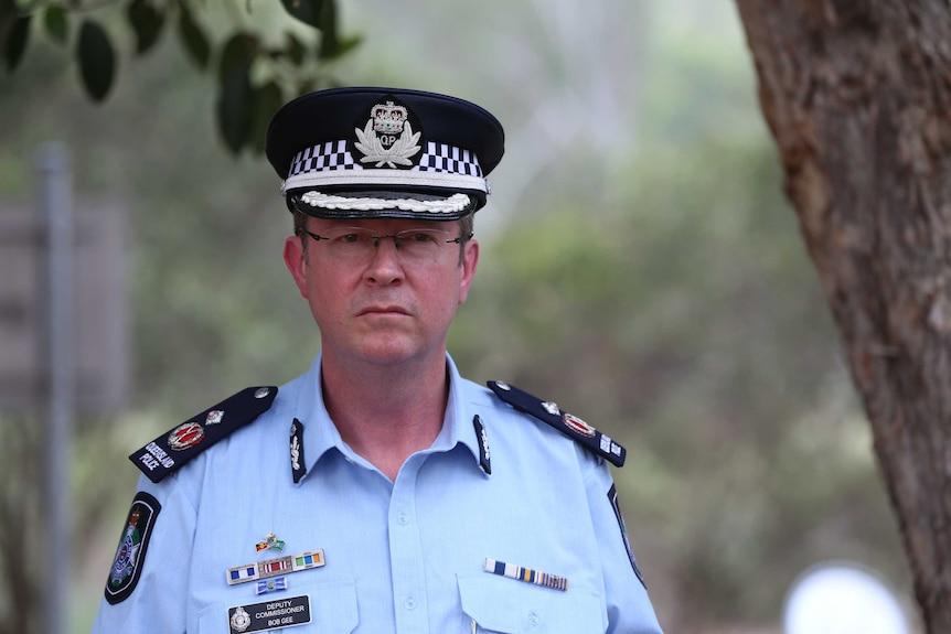 Queensland Deputy Police Commissioner Bob Gee speaks to the media.