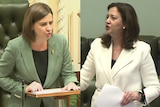 Two women speaking inside state parliament