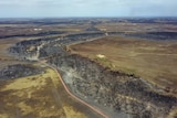 An aerial view of burnt-out areas of Kangaroo Island.