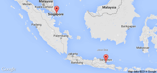 AirAsia flight QZ 8501 route