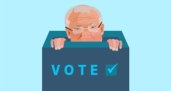 An illustration of Scott Morrison peeking out of a ballot box with VOTE written on it.