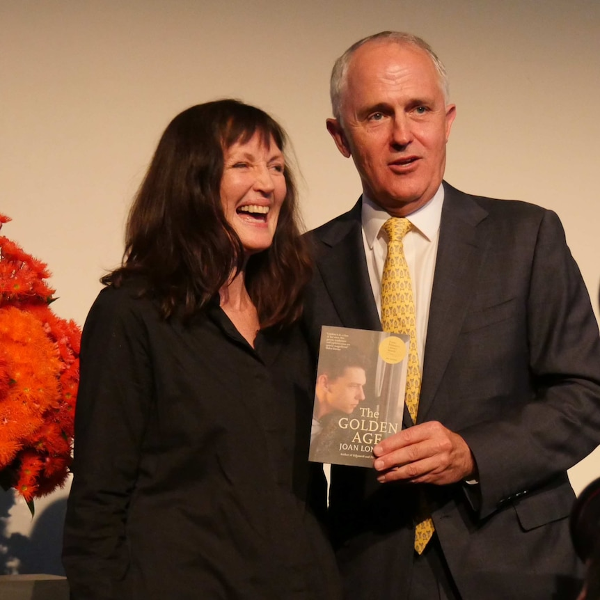 Prime Minister Malcolm Turnbull with author Joan London.