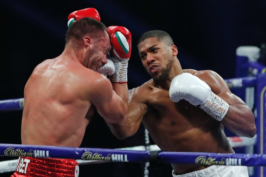 Anthony Joshua lands an upper cut to the face of Kubrat Pulev