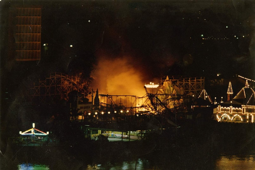 An aerial view of the 1979 Ghost Train fire