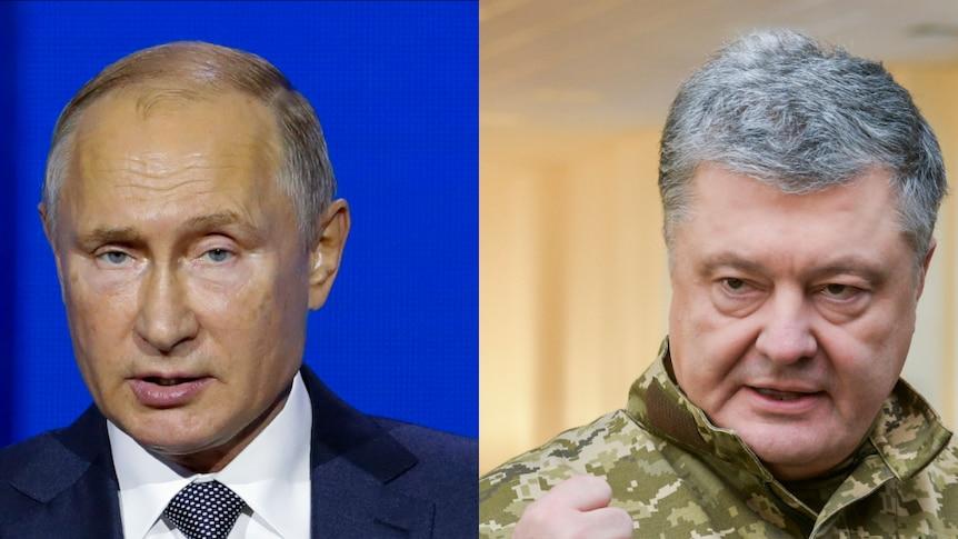 Composite image of Russian President Vladimir Putin and Ukrainian President Petro Poroshenko.