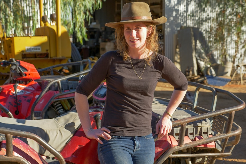 CEO at Farmers for Climate Action, Verity Morgan-Schmidt on Noonbah Station south of Longreach in July 2019.