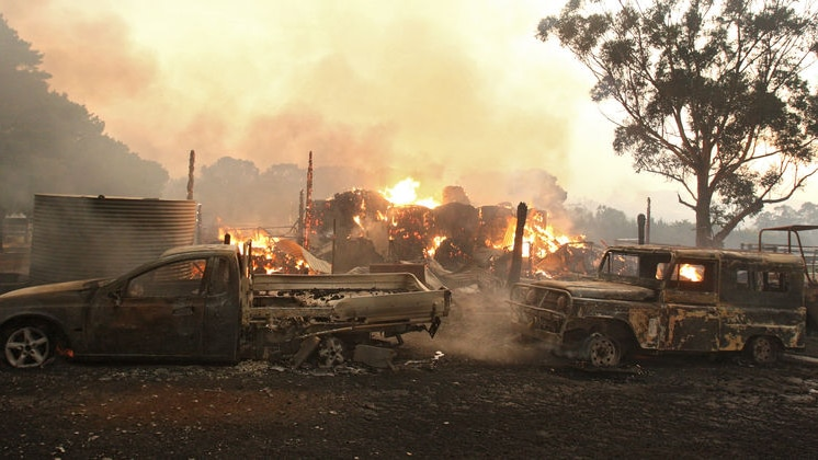Vehicles and a shed destroyed