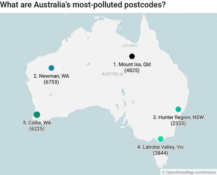 Australia's top five most polluted postcodes: Mt Isa Qld, Newman WA, Hunter Region NSW, Latrobe Valley Vic, Collie WA.