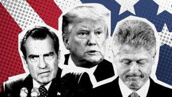 A graphic containing images of Richard Nixon, Donald Trump and Bill Clinton.