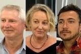 A composite image of New Zealand journalists Mark Jennings, Melanie Reid and Hayden Aull.
