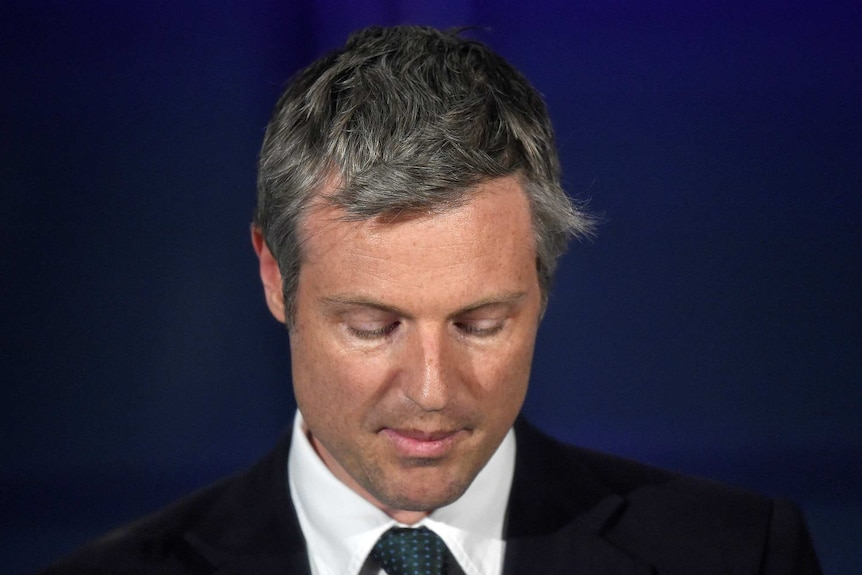 Zac Goldsmith looks dejected while speaking.