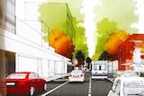 Artist's impression of Hunter Street with light rail