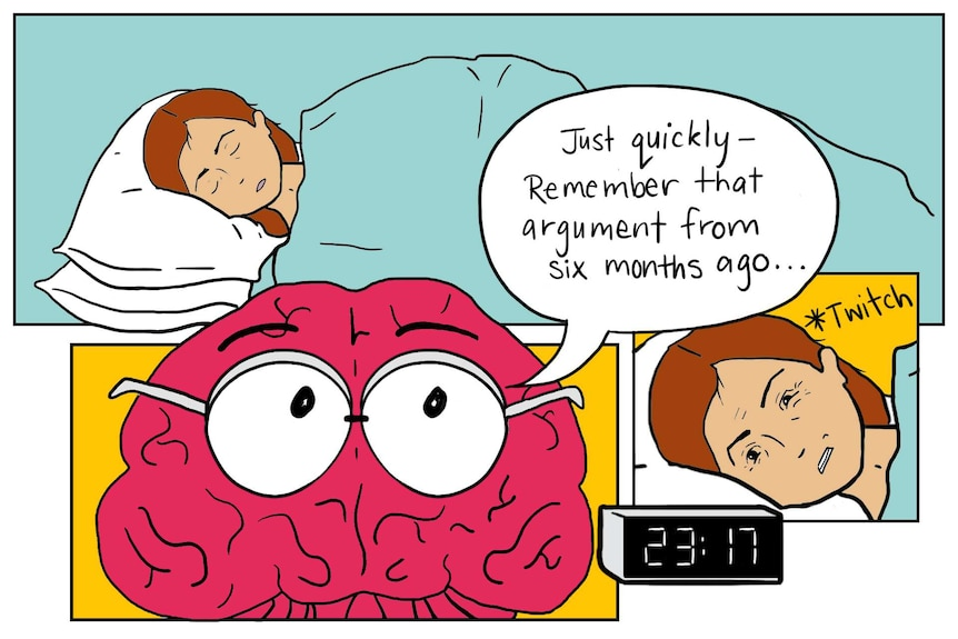 Illustration shows brain speaking to sleeping woman, asking if she remembers an argument from months ago
