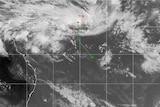 Satellite image of tropical depression 11F with forecast track